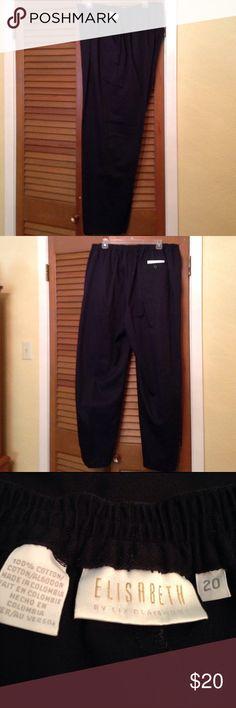 "Re-Posh - Black Slacks with elastic waistband Size 20, 100% cotton, inseam 31"" Liz Claiborne Pants"