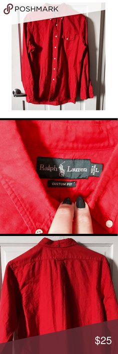 Ralph Lauren Custom Fit Oxford Button Up Shirt This authentic Ralph Lauren Custom Fit button up oxford shirt in true red is timeless. Bright preppy color perfect for any season. Layer it with navy shorts or jeans and wear open with a white tee. Worn once. Great condition but needs to be ironed. Ralph Lauren Shirts Casual Button Down Shirts