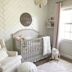 "852 Likes, 17 Comments - Project Nursery (@projectnursery) on Instagram: ""Herringbone shiplap, FTW! SO much to love in this sweet baby girl nursery from @jessdworkin.…"""
