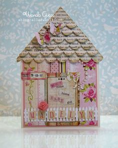 How awesome is the roof on this card, with the scalloped distressed text paper? Card Making Tutorials, Craft Tutorials, Making Ideas, Scrapbooking, Scrapbook Cards, Baby Cards, Kids Cards, Daughter Birthday Cards, House Cards