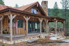 Rustic Riverside cabin home exterior, Rustic House Plans, Cabin House Plans, Log Cabin Homes, Log Cabins, Small Rustic House, Mountain Cabins, Rustic Cottage, Rustic Farmhouse, Cabin In The Woods