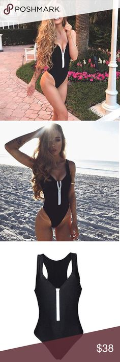 """❣New! """"Lydia"""" Zip-Up Cheeky Monokini The """"Lydia"""" Monokini is a cheeky one-piece swimsuit with a white statement zipper. Zipper is functioning (not fixed) and can be lowered based on personal style. Back is cheeky. Suit is not padded. Size chart in photos. Swim One Pieces"""
