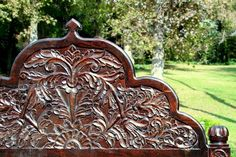 Traditional Rajasthani style hand carved arch headboard made from solid Indian rosewood. It is truly a work of art. Outdoor Garden Furniture, Furniture Decor, Wooden Furniture, Natural Pesticides, Home Decor Items, Outdoor Gardens, Hand Carved, Garden Design, Hardwood