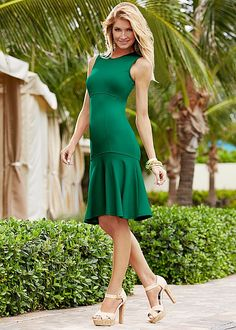 Trumpet dress, canvas platform heel in the VENUS Line of Dresses for Women.  has empire waist AND a dropped waist.  interesting.