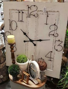 Oversize clock made from an old door