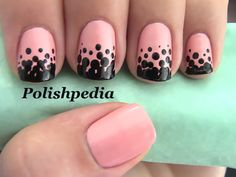 Pink polka dots.  Would like to make these with red as a main color and white insted of black dots.
