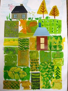 elementary printmaking - experimenting with stamps:  Started with stamped rectangles, 5 paint chips and a river... then added texture on ea square with stamps dipped in paint, stamps in ink, watercolor dots, zig zags and swimming fish... and bridges connecting the colorful islands   over the river teaming with fish... and houses made of paint chips... and happy rabbits jumping in the trees... and happy bushes...