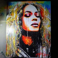 Piece I painted of @beyonce auctioning it off live on my Instagram tomorrow at 3PM PS...