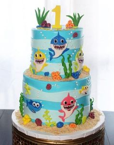 Baby first birthday cake boy fondant trendy ideas cake decorating recipes anniversaire chocolat de paques cakes ideas Shark Birthday Cakes, Baby Boy 1st Birthday Party, First Birthday Cakes, Birthday Cake Girls, Birthday Ideas, Baby Hai, Bolo Fack, Shark Cake, Cakes For Boys