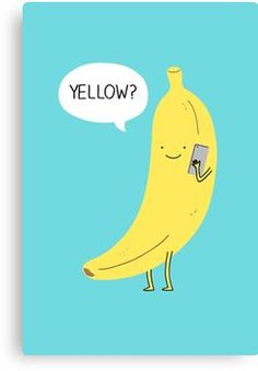 'Banana on the phone' Canvas Print by Milkyprint Food Graphic Design, Logo Design, Chiquita Banana Costume, Banana Quotes, Funny Illustration, Illustrations, Food Captions, Banana Phone, Banana Funny