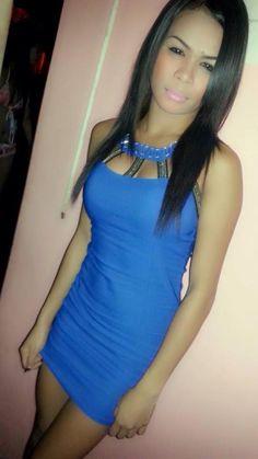 Beautiful Filipina in a tight blue dress with a mini skirt #pinaydress
