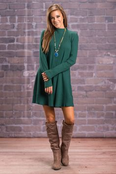"""""""Don't """"Mock"""" Me Say It Dress, Emerald"""" This mock turtle dress is nothing to laugh at! The ribbed fabric gives it a fabulous amount of stretch while retailing a nice fit! The back feature a short exposed zipper to make getting into this beauty a little easier! #newarrivals #shopthemint"""