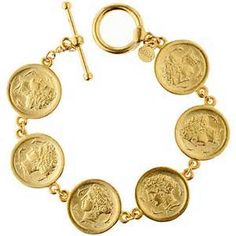 The Met Store - Arethusa Coin Link Bracelet (for my stepmom) Greek Jewelry, Golden Jewelry, Coin Jewelry, Jewelry Bracelets, Diamond Bracelets, Jewellery, Coin Bracelet, Link Bracelets, Gold Coin Ring