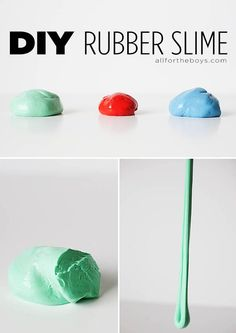 Kid Inspiration - For all kids - DIY Rubber Slime. It's rubbery, stretchy, slimy (but not sticky), a bit bouncy and you can make it at home! Craft Activities For Kids, Science For Kids, Toddler Activities, Projects For Kids, Diy For Kids, Craft Projects, Crafts For Kids, Balle Anti Stress, Ideias Diy