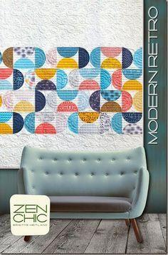 Modern Retro Half-Circles Quilt Pattern - Zen Chic - Modern Quilting Pattern - Brigitte Heitland - Figures Fabrics by Moda