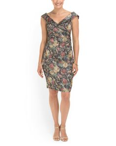 image of Floral Ruched Sheath Dress