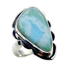 'Caribbean Dreams' Sterling Silver Natural Dominican Larimar Ring, Size 6.5  Price : $51.95 http://www.silverplazajewelry.com/Caribbean-Sterling-Silver-Natural-Dominican/dp/B00OP299VK