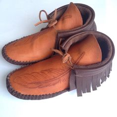 Hand carved/stamped moccasins with fringe Flats, Sandals, Costume Accessories, Hand Carved, Carving, Footwear, Costumes, Shoes, Fashion