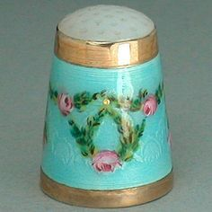 Antique Enameled Gilded Silver Stone Top Thimble w Roses Early 20th Century | eBay
