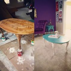 My new #upcycle  Victorian coffee table.  I'm in love.  #diy ftw!
