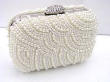 Creamy / Ivory ~Handmade Full Pearl~Bridal Evening Clutch Bag ☆Free shipping ☆