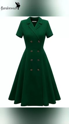 A business party dress, girls! Sexy v-neck, it's perfect amount of cleavage, short sleeve, sophisticated cut with eight buttons, which compliments the female figure beautifully and timeless, mid calf length is suitable for any business occasion. #weartoworkdress #cocktaildress #casualdress #businessdress #vintagedress #retrostyle #casualoutfits #partydress #1950sdress #cocktailparty #onlinestore #Gardenwed Cute Dresses For Party, Party Dress, Dresses For Work, Prom Dresses, Vintage 1950s Dresses, Winter Outfits For Work, Business Dresses, 1950s Fashion, Occasion Dresses