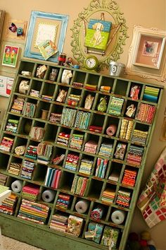 craft room studio cubby storage gorgeous fabric collection.... I made one exactly like this for my studio.... <3 it I have all my wool felt in it...