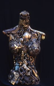 Brass torso made from found objects. Cool.