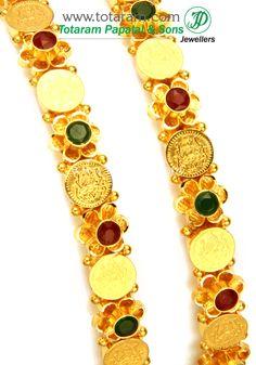 Totaram Jewelers: Buy 22 karat Gold jewelry & Diamond jewellery from India: 22K Fine Gold 'Lakshmi Kasu' Bangles - Set of 2 (1 Pair) (Temple Jewellery)