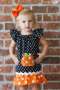 Pumkin Halloween Fall Peasant Dress free by ohsewcutegifts on Etsy, $35.00
