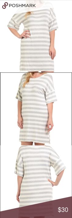 """Bellino Stripe T-Shirt Dress Plus Size NWT Heather Gray and Ivory stripe short sleeve tee shirt dress. So cute to dress up or dress down! Note: Runs slightly small so I do suggest ordering a size up if you want a looser fit. Measures 38"""" from shoulder to bottom hem. Bellino Clothing Dresses"""