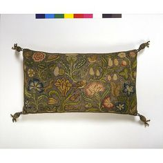 Canvas work in coloured silk, silver and silver-gilt thread, with satin back and silver and silk thread tassels. c. 1600-1630