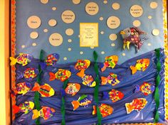 Marcus Pfister's Rainbow Fish.  Making friends display for the beginning of the year.