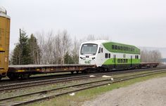 GO Transit (Greater Toronto Transit Authority) Locomotive: Bombardier - Cab Car, Location: Marathon, Ontario, Canada, Locomotive #: GO 302, Train ID: CP 420-16