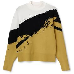 Hint Jacquard Sweater ❤ liked on Polyvore featuring tops, sweaters, embellished sweater, crew-neck sweaters, color block top, jacquard sweater y yellow top