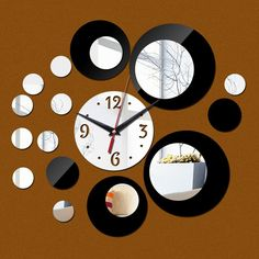 Europe Acrylic Large Pattern Mirror Wall Stickers DIY Wall Clock