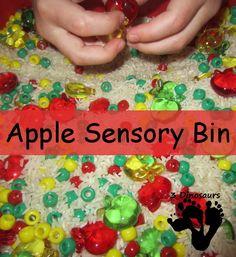 Apple Sensory Bin | 3 Dinosaurs