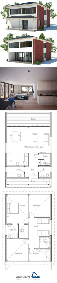 Small House Plan: PERFECT! THIS IS EXACTLY WHAT I WANT for the layout anyways, I like a more traditional look for the outside. And it needs a wraparound porch and added garage.  2 story