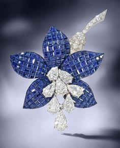 A sapphire and diamond 'Fuschia' brooch, by Van Cleef & Arpels, 1987