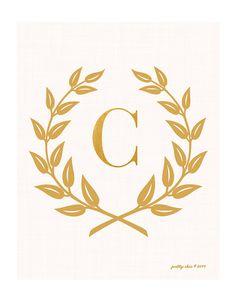 Laurel Wreath Monogram Art Print - Bar Cart - Inspirational - Monogram - Gold Laurel Wreath - Golden - Nursery