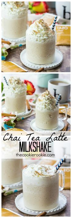 Nothing more comforting and refreshing than a Chai Tea Latte Milkshake! The perfect Summer pick me up! Delicious, creamy, and also super easy! Totally easy to veganize Köstliche Desserts, Delicious Desserts, Dessert Recipes, Yummy Food, Frappuccino, Frappe, Oreo Milkshake, Milkshakes, Brunch