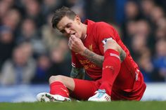 Daniel Agger Photos - Daniel Agger of Liverpool reacts during the Barclays Premier League match between Everton and Liverpool at Goodison Park on November 2013 in Liverpool, England. - Everton v Liverpool Liverpool Premier League, Barclay Premier League, Goodison Park, Paper News, Premier League Matches, Unconditional Love, Everton, Football, Sports