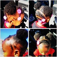 Natural African American/Black Hair Style for young girl. Short Natural hair.  Cute simple hairstyle for a little girl.  Cornrows, Afro puffs and barrett's.