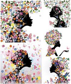 Butterflies and Flowers Clip Art | Spring girl with butterflies and flowers vector