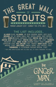 Stouts, Beer Flights, and More @ Coalhouse Pizza + The Ginger Man this January