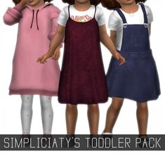 Simpliciaty Toddler Pack for The Sims 4 Sims 4 Toddler Clothes, Sims 4 Cc Kids Clothing, Sims 4 Mods Clothes, Toddler Outfits, Kids Outfits, Toddler Cc Sims 4, Toddler Fashion, Toddler Girls, Girl Fashion