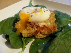 Parmesan Quinoa Cakes with Poached Eggs