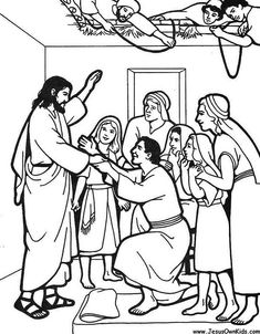 Jesus heals the paralytic man, colouring sheet