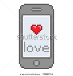 Pixel art smartphone, sms love messages