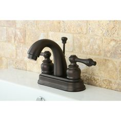 Kingston Br Clic Oil Rubbed Bronze Double Handle Bathroom Faucet Solid Lever